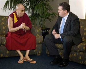 Dalai Lama talks with Australia\'s acting leader Sen. Chris Evans in Sydney,