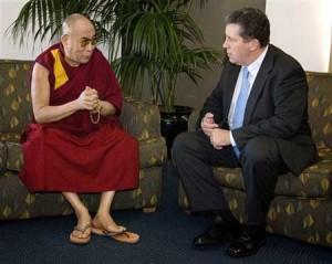 Dalai Lama talks with Australia\'s acting leader Sen. Chris Evans in Sydney,
